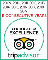 Trip Advisor Winner - Certificate of Excellence for the last 10 Years!